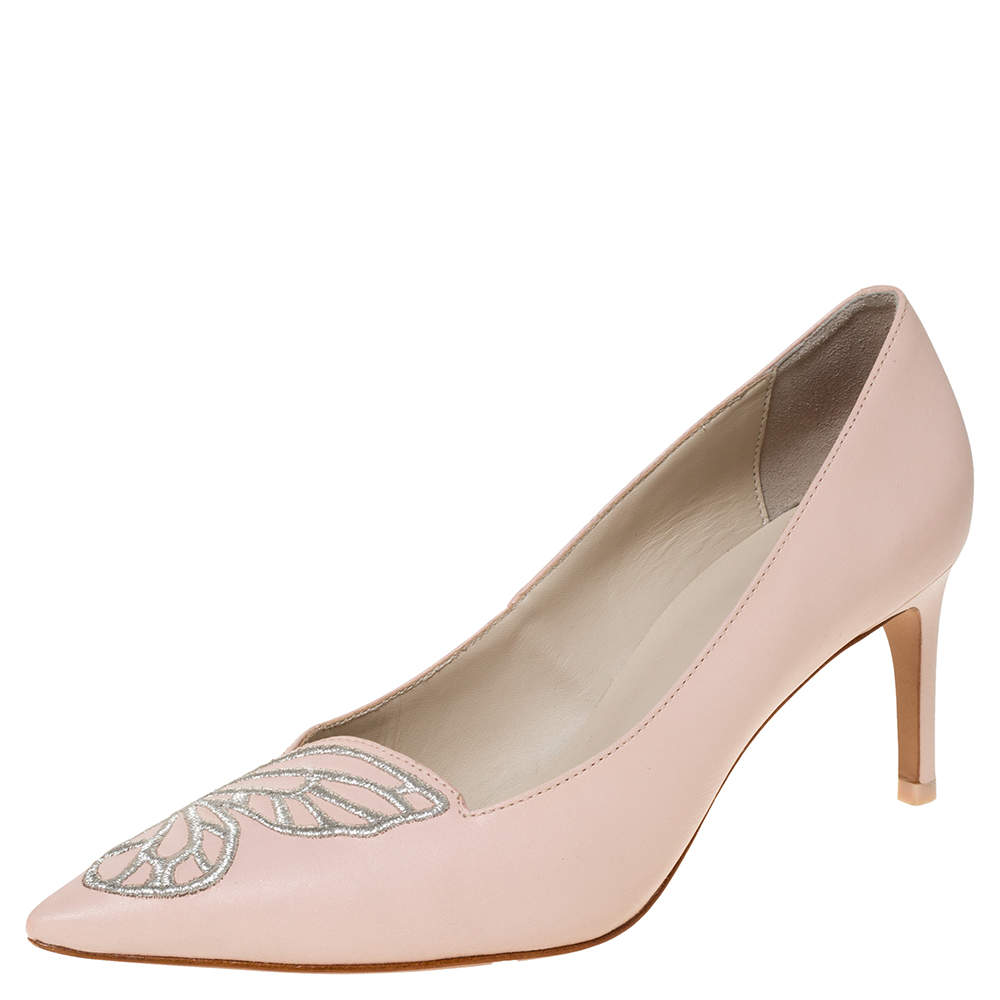 Sophia Webster Light Pink/Silver Leather Bibi Butterfly Pointed Toe Pumps Size 38.5