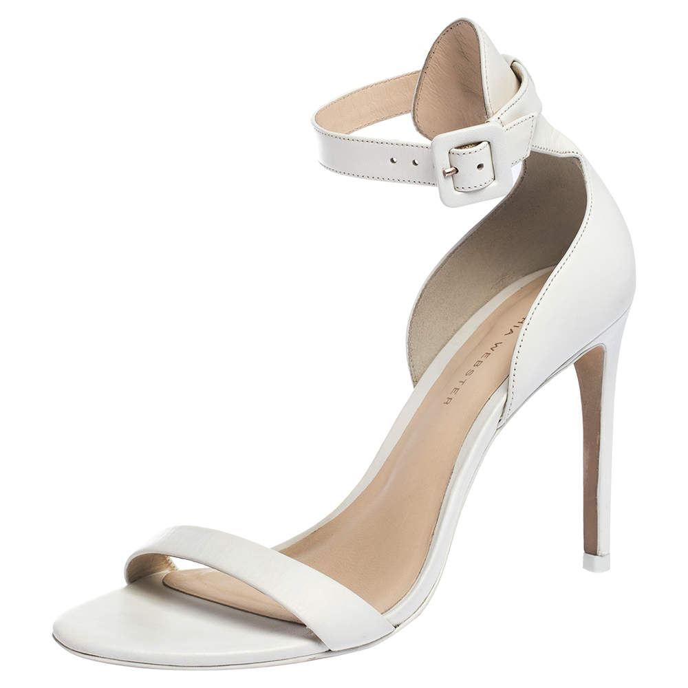 Sophia Webster White Leather Nicole Sandals Size 38