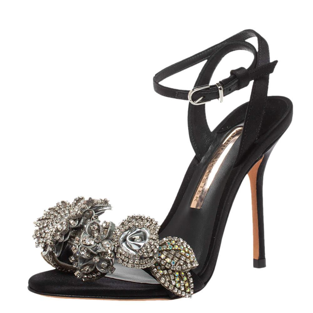 Sophia Webster Black Satin Lilico Crystal Embellished Sandals Size 35.5