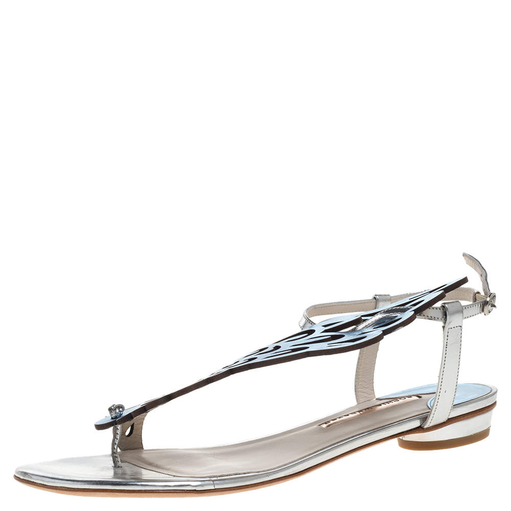 Sophia Webster Metallic Blue/Silver Leather Seraphina Angel Wing Flats Size 41