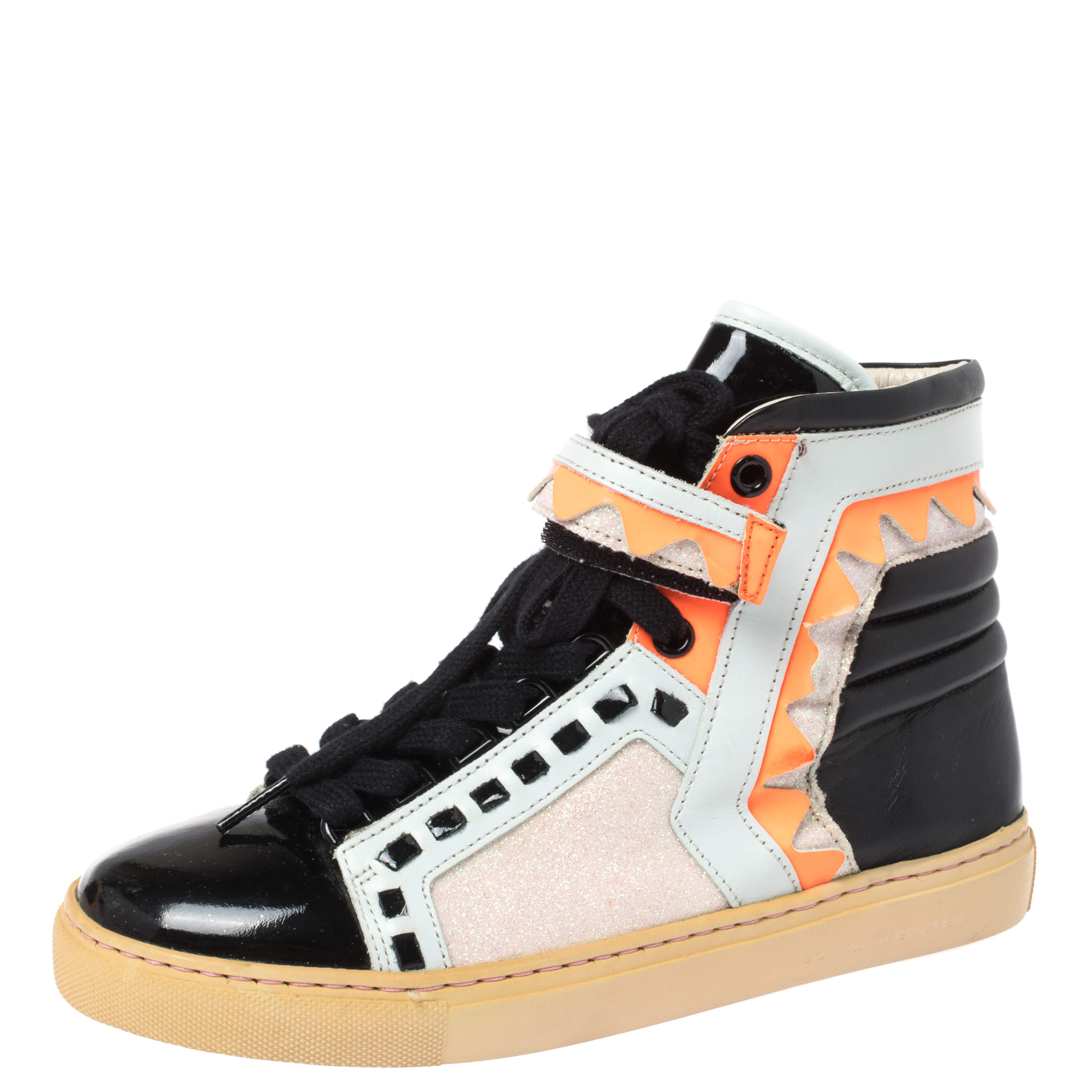 Sophia Webster Multicolor Leather and Glitter Riko High Top Sneakers Size 36