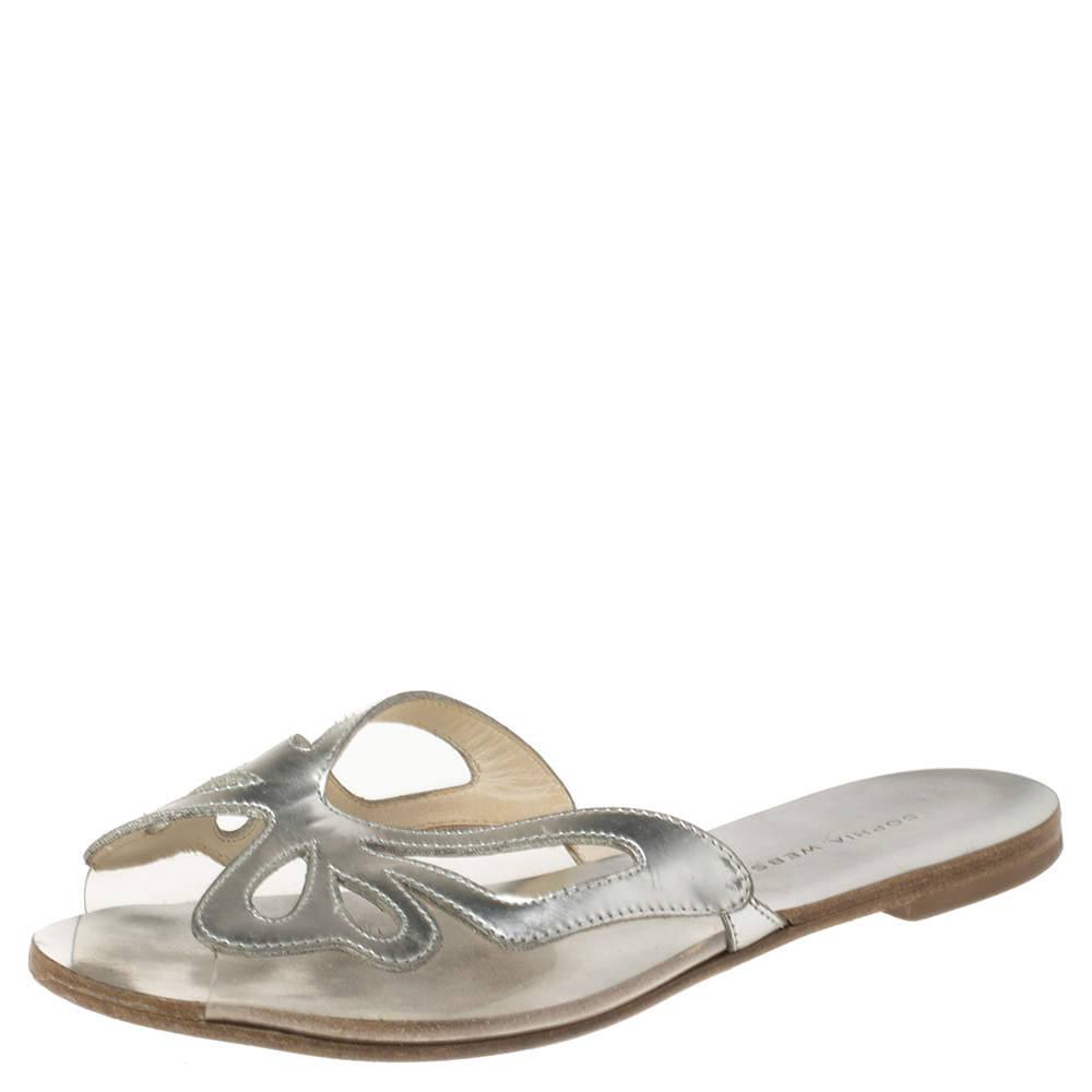 Sophia Webster Silver Leather And PVC Madame Butterfly Flat Slides Size 35.5