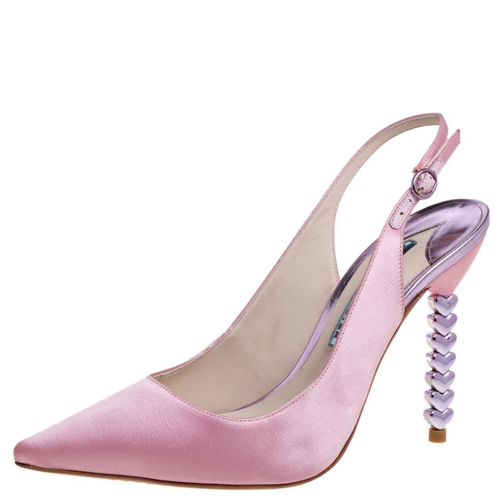 Sophia Webster Pink Satin Tyra Slingback Sandals Size 39