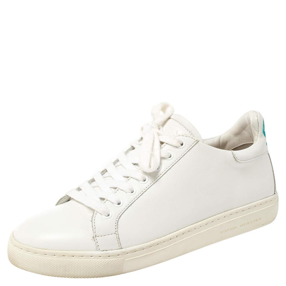 Sophia Webster White Leather Bibi Butterfly Low Top Sneakers Size 36