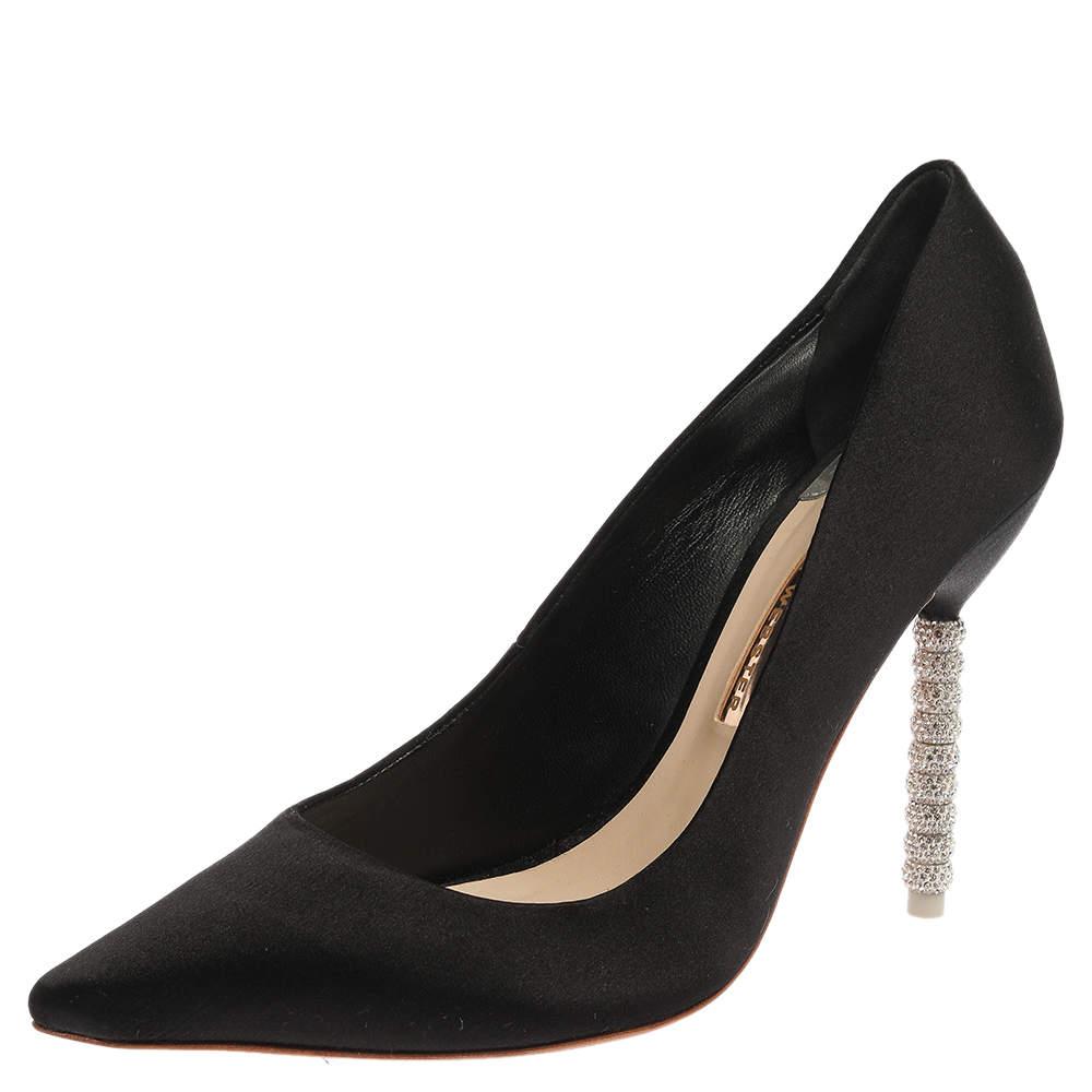 Sophia Webster Black Satin Crystal Embellished Coco Pumps Size 40.5