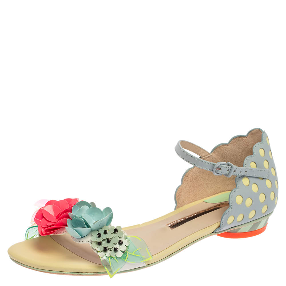 Sophia Webster Multicolor Floral Leather Lilico Ankle Strap Flat Sandals Size 37