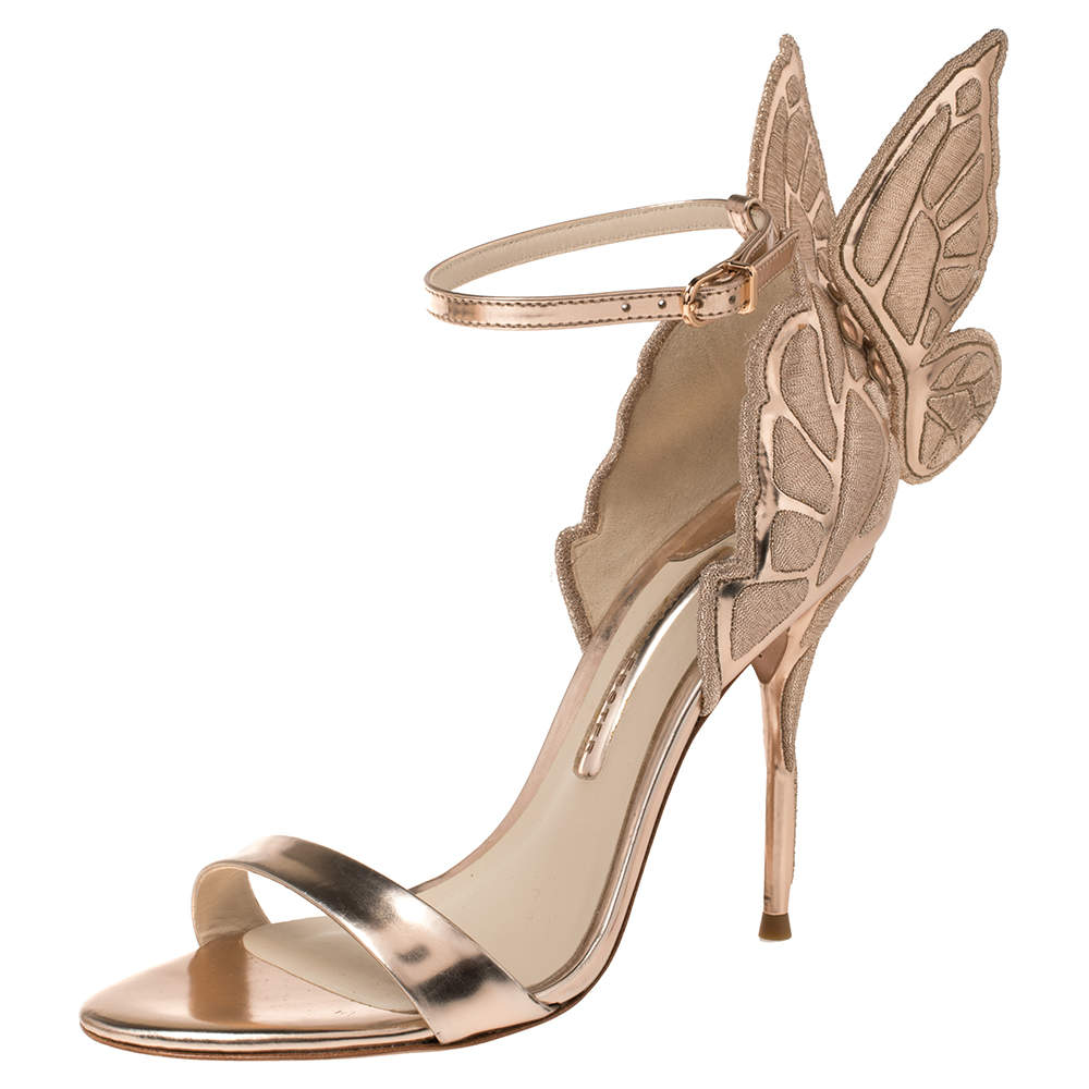 Sophia Webster Metallic Rose Gold Leather Chiara Butterfly Ankle Cuff Sandals Size 37