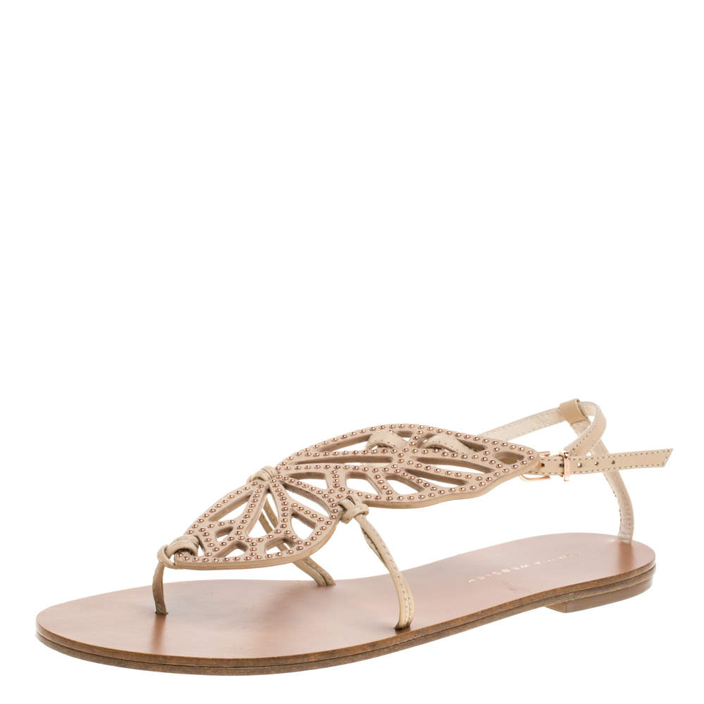 Sophia Webster Beige Leather Studded Butterfly Flat Sandals Size 39