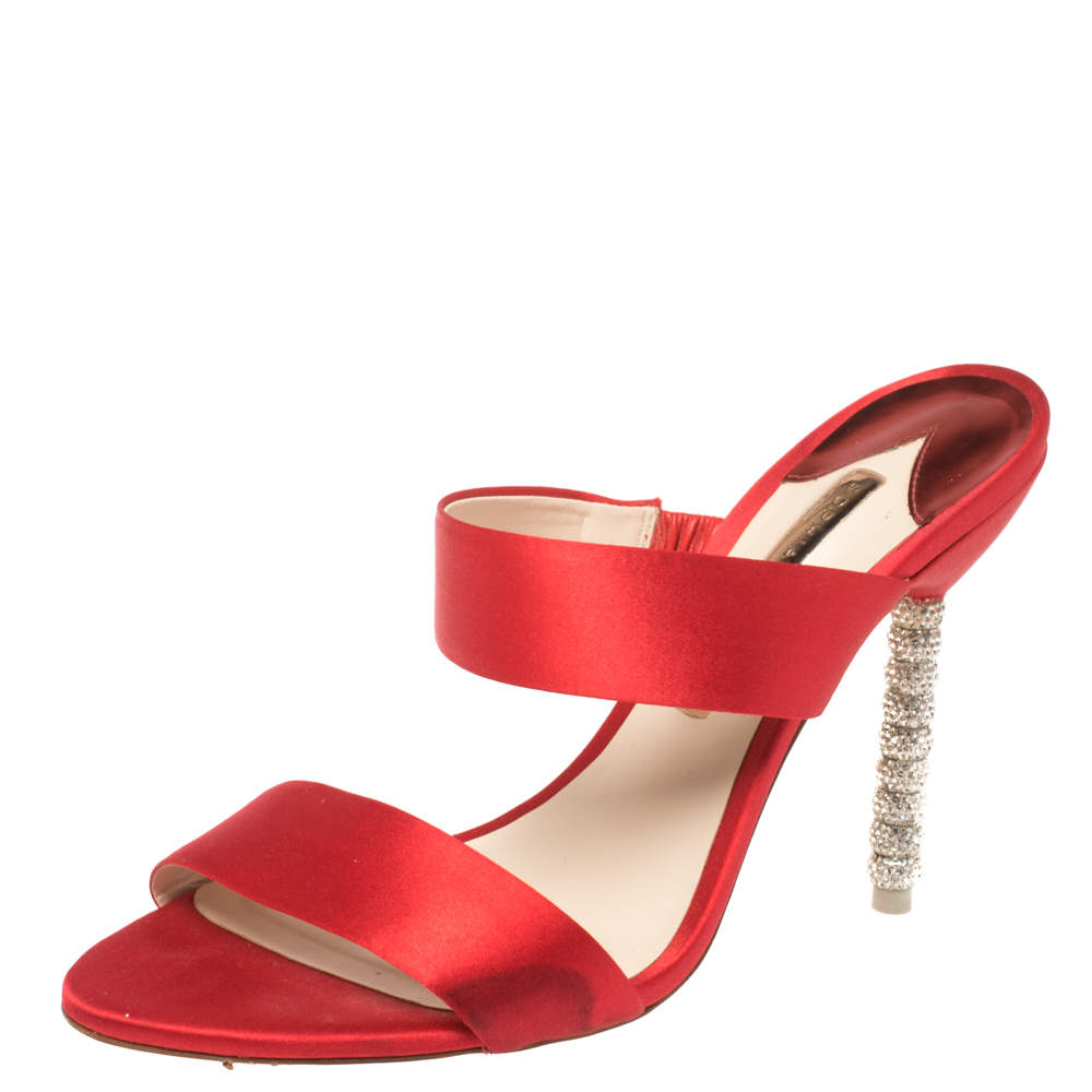 Sophia Webster Red Satin Crystal Embellished Heel Slide Mules Size 40