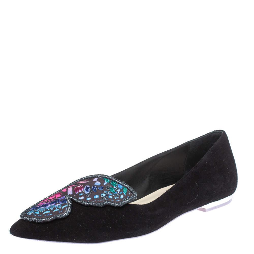 Sophia Webster Black Suede Bibi Butterfly Pointed Toe Ballet Flats Size 37