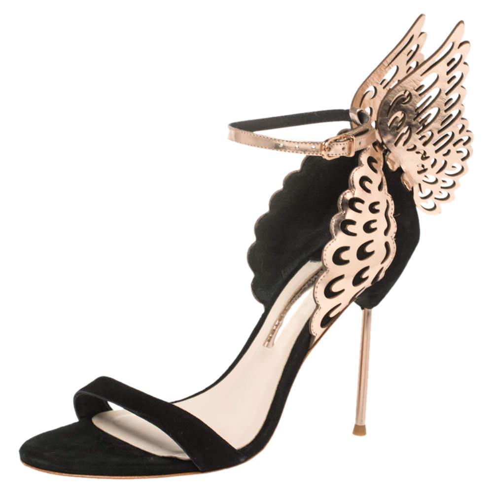 Sophia Webster Black/Rose Gold Suede and Leather Evangeline Open Toe Sandals Size 40