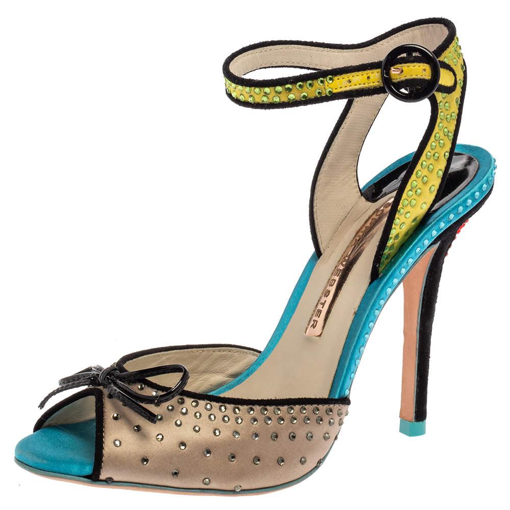 Sophia Webster Multicolor Satin Crystal Embellished Bow Peep Toe Sandals Size 37