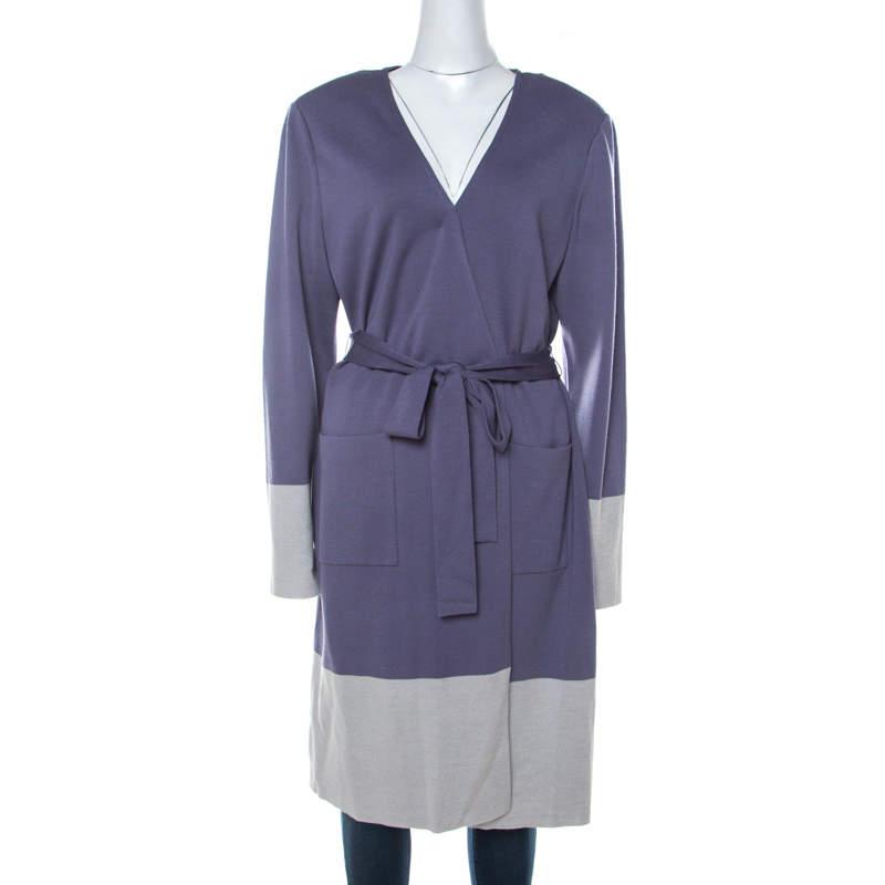 St. John Purple Knit Padded Shoulder Detail Belted Cardigan XL