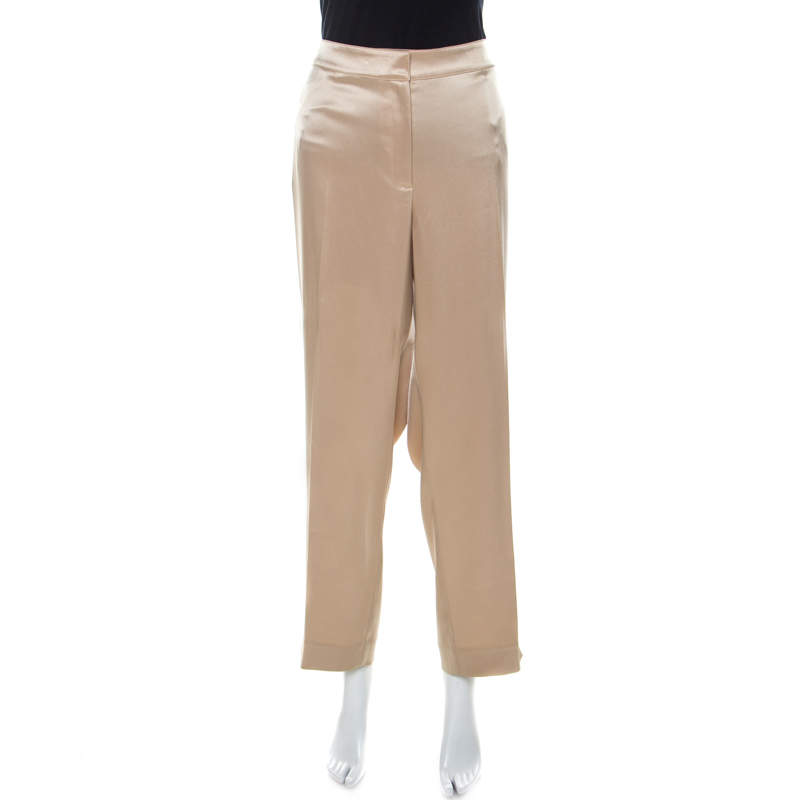 St. John Couture Beige Satin Straight Fit Trousers XL
