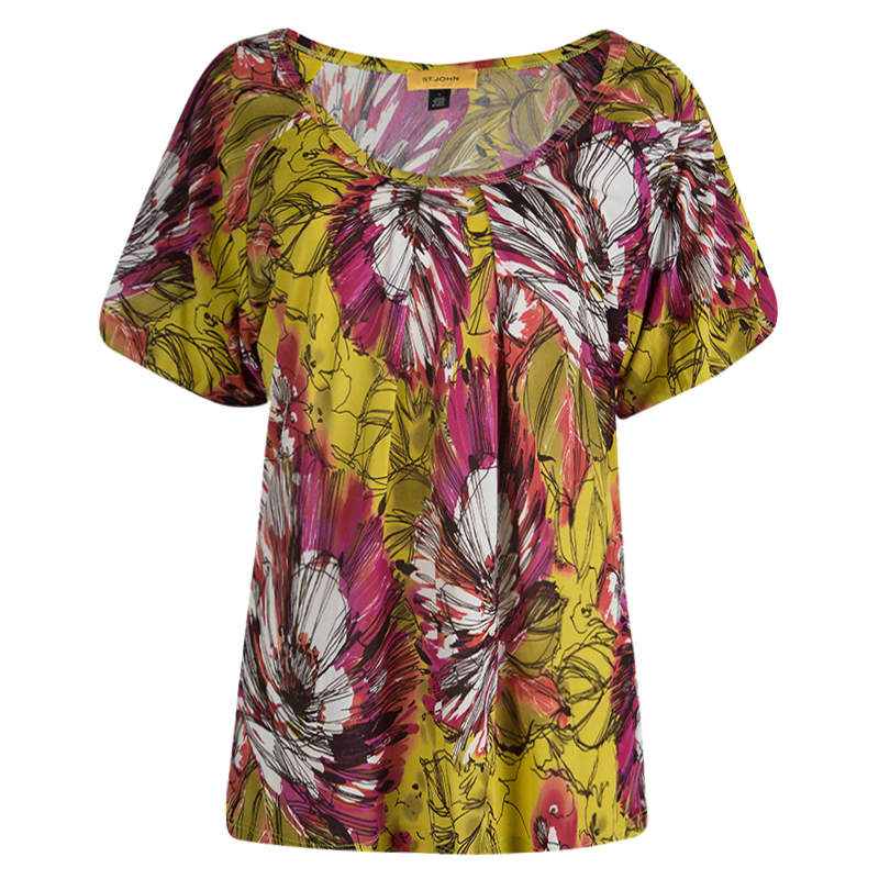 St. John Multicolor Floral Printed Silk Knit Short Sleeve Top L