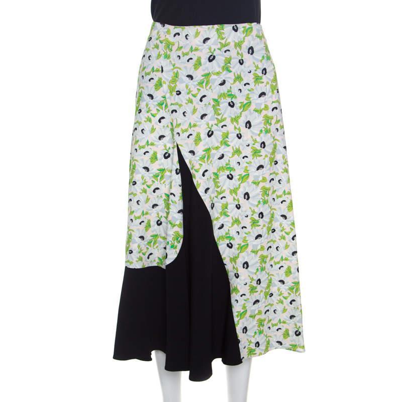 Stella McCartney Colorblock Wildflower Print Florentina Midi Skirt S