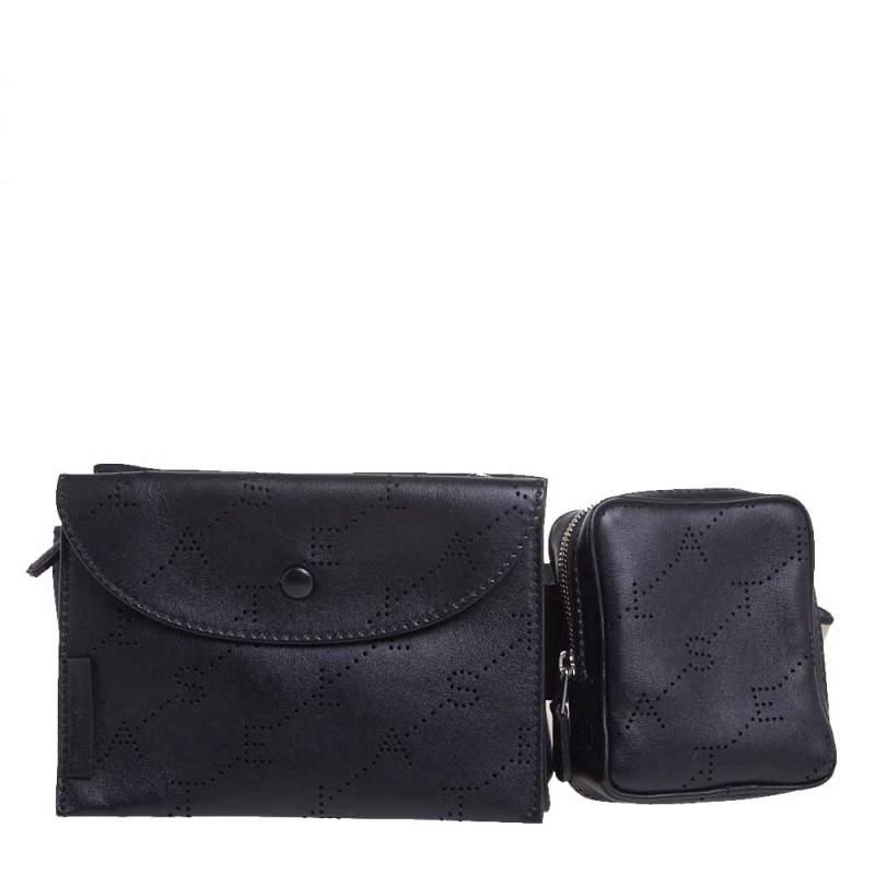 Stella McCartney Black Monogram Faux Leather Utility Belt Bag