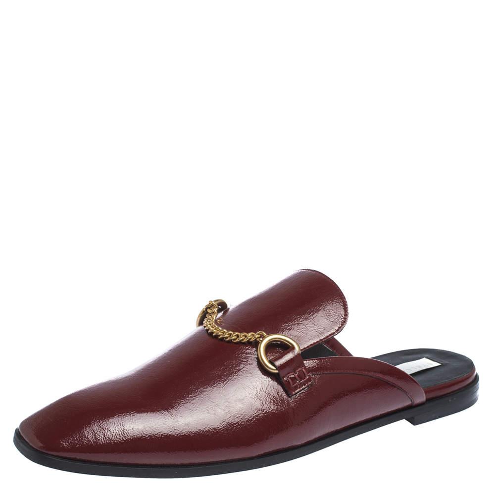 Stella McCartney Burgundy Faux Patent Leather Chain Detail Flat Mules Size 40.5