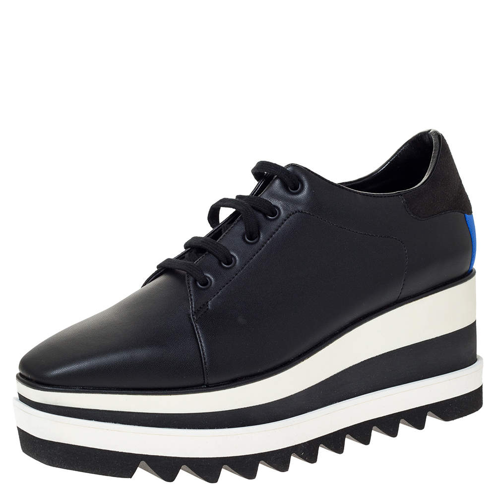 Stella McCartney Black Faux Leather Elyse Platform Lace Up Sneakers 40