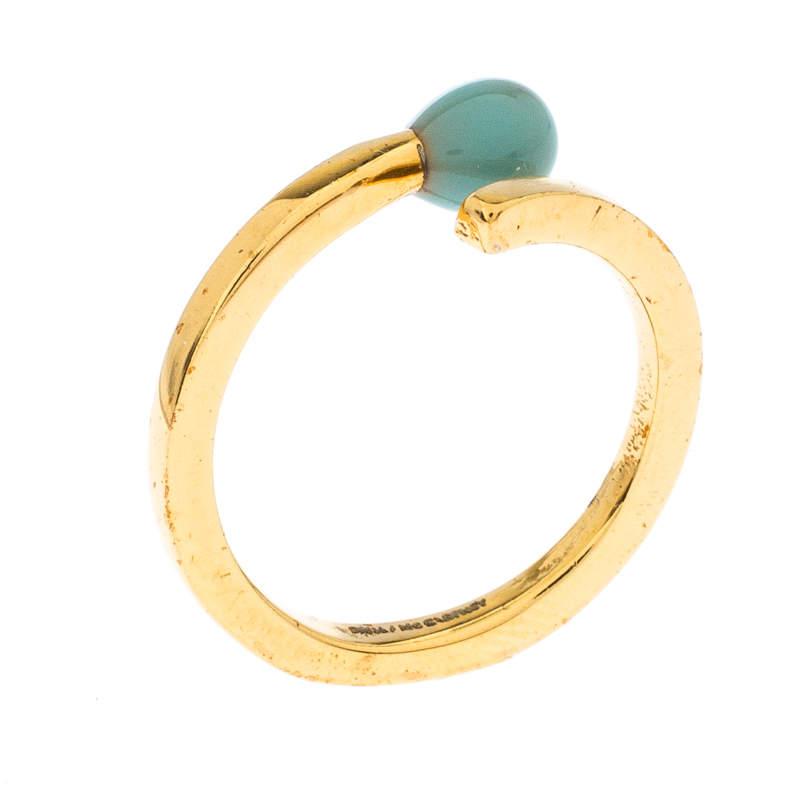 Stella McCartney Matchstick Enamel Gold Tone Ring Size 54