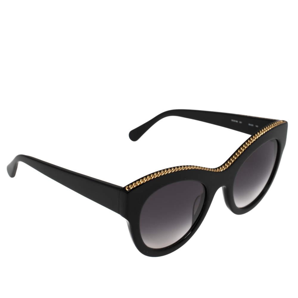 Stella McCartney Black & Gold / Grey Gradient SC0018S Cat Eye Sunglasses