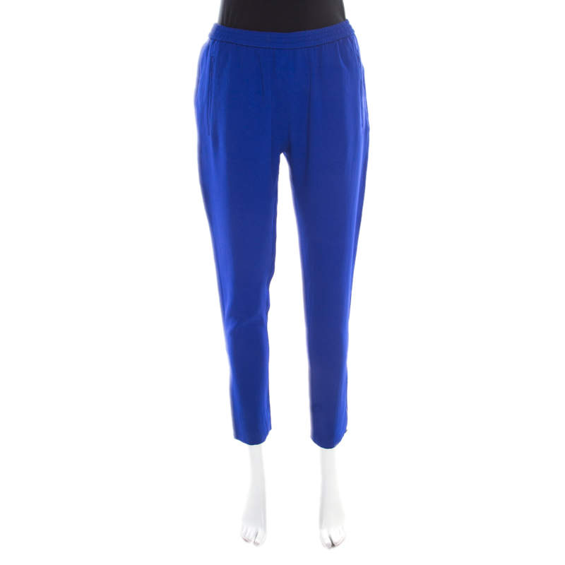 Stella McCartney Cobalt Blue Crepe Elasticized Waist Tamara Pants M