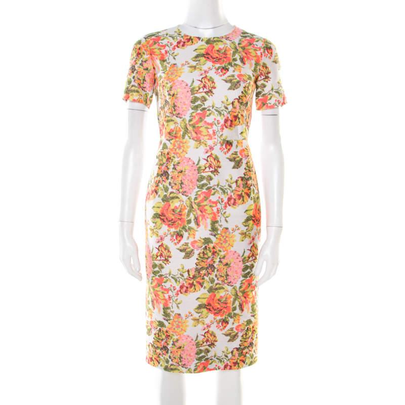 Stella McCartney Metallic Neon Floral Jacquard Ridley Sheath Dress XS