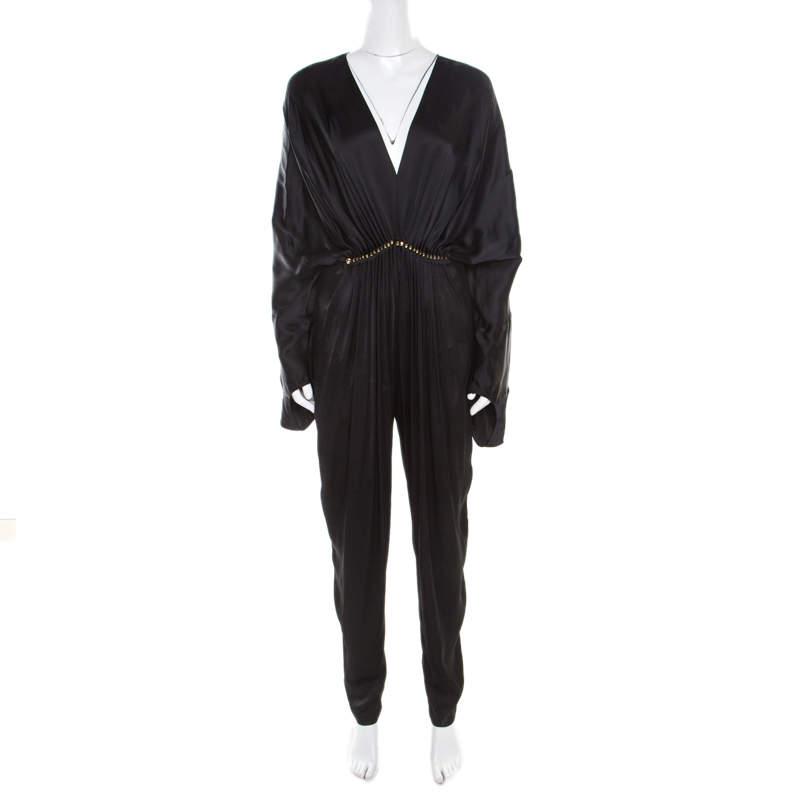 Stella McCartney Black Satin Embellished Morgane Aio Jumpsuit XS