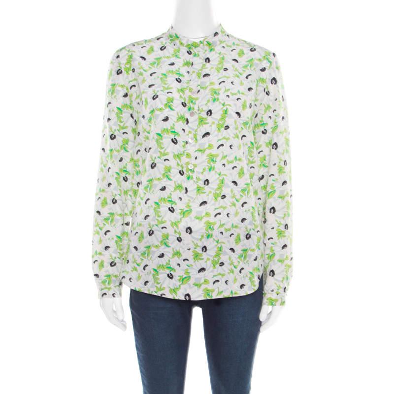 Stella McCartney Multicolor Floral Printed Silk Long Sleeve Eva Blouse S