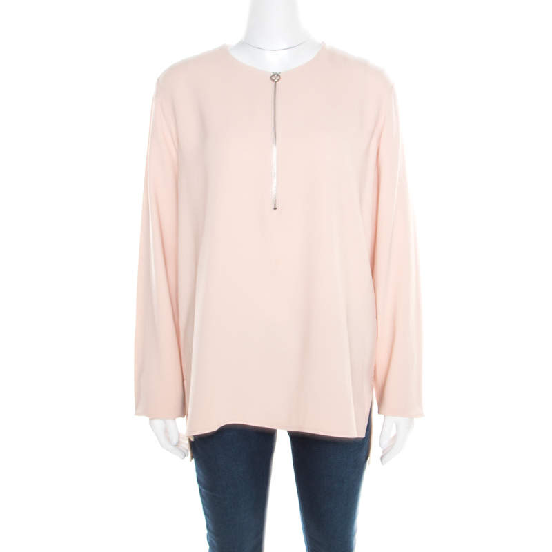 Stella McCartney Rose Pink Zip Detail Long Sleeve Arlesa Top M