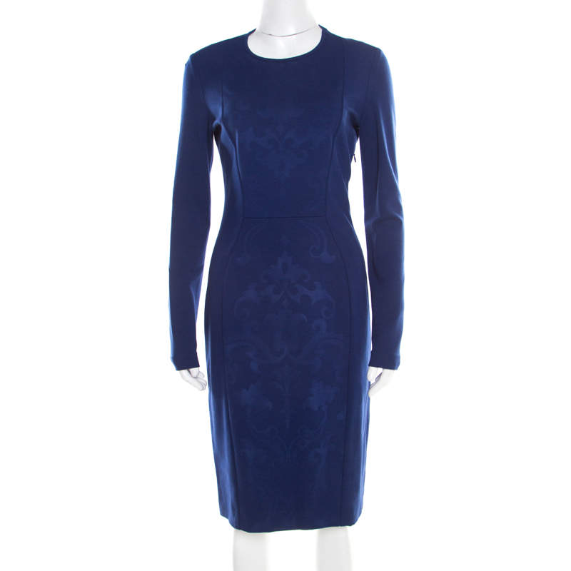 Stella McCartney Cobalt Blue Embossed Jacquard Front Panel Detail Long Sleeve Dress M