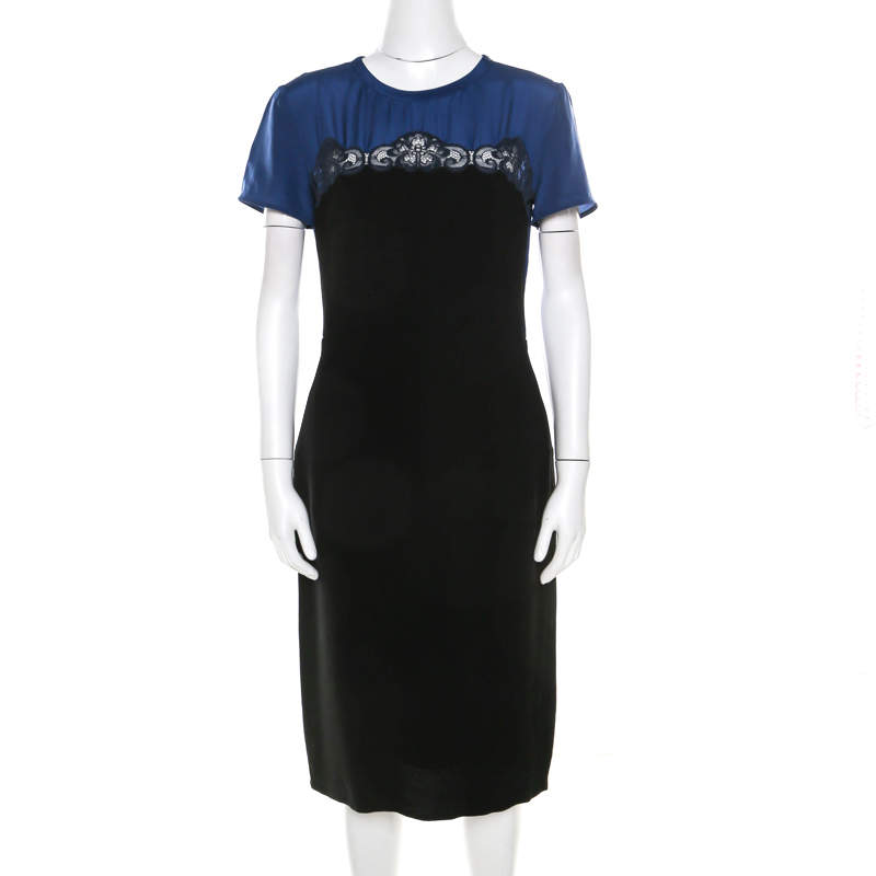 Stella McCartney Black and Blue Stretch Crepe Lace Detail Shift Dress M