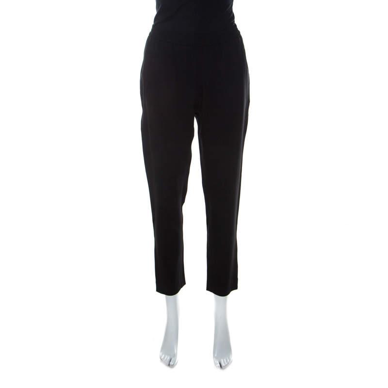 Stella McCartney Black Cady Bottom Zip Detail Tamara Trousers M