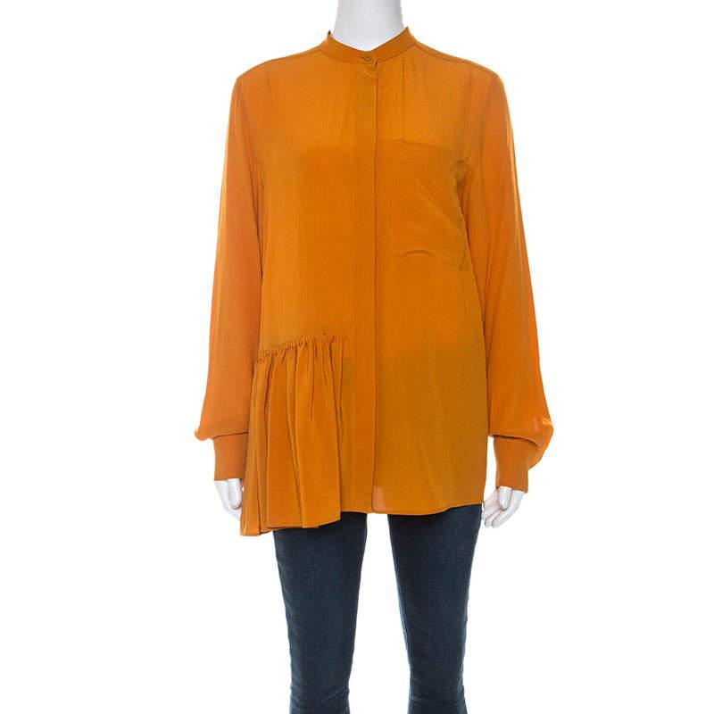 Stella McCartney Pumpkin Orange Silk Long Sleeve Pleat Detail Shirt S