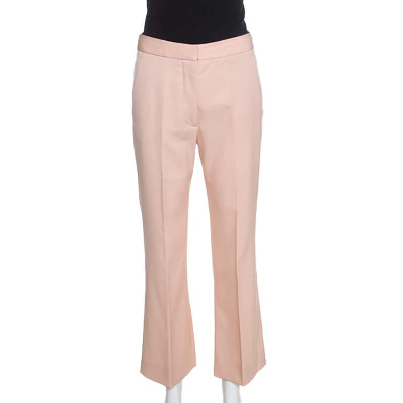 Stella McCartney Blush Pink Silk Twill Wide Leg Eden Trousers XS