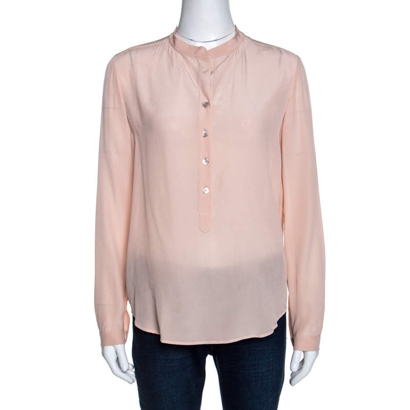 Stella McCartney Blush Pink Silk Long Sleeve Blouse XS