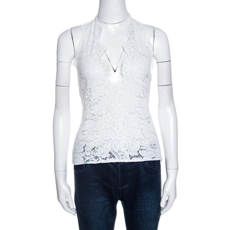 Stella McCartney White Lace Scalloped Halter Neck Top S