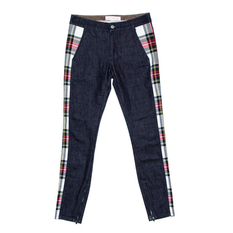 Stella McCartney Navy Blue Denim Plaid Trim Jeans S