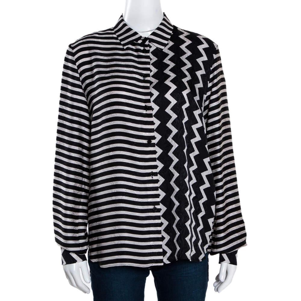 Stella McCartney Monochrome Silk Multiprint Long Sleeve Shirt M