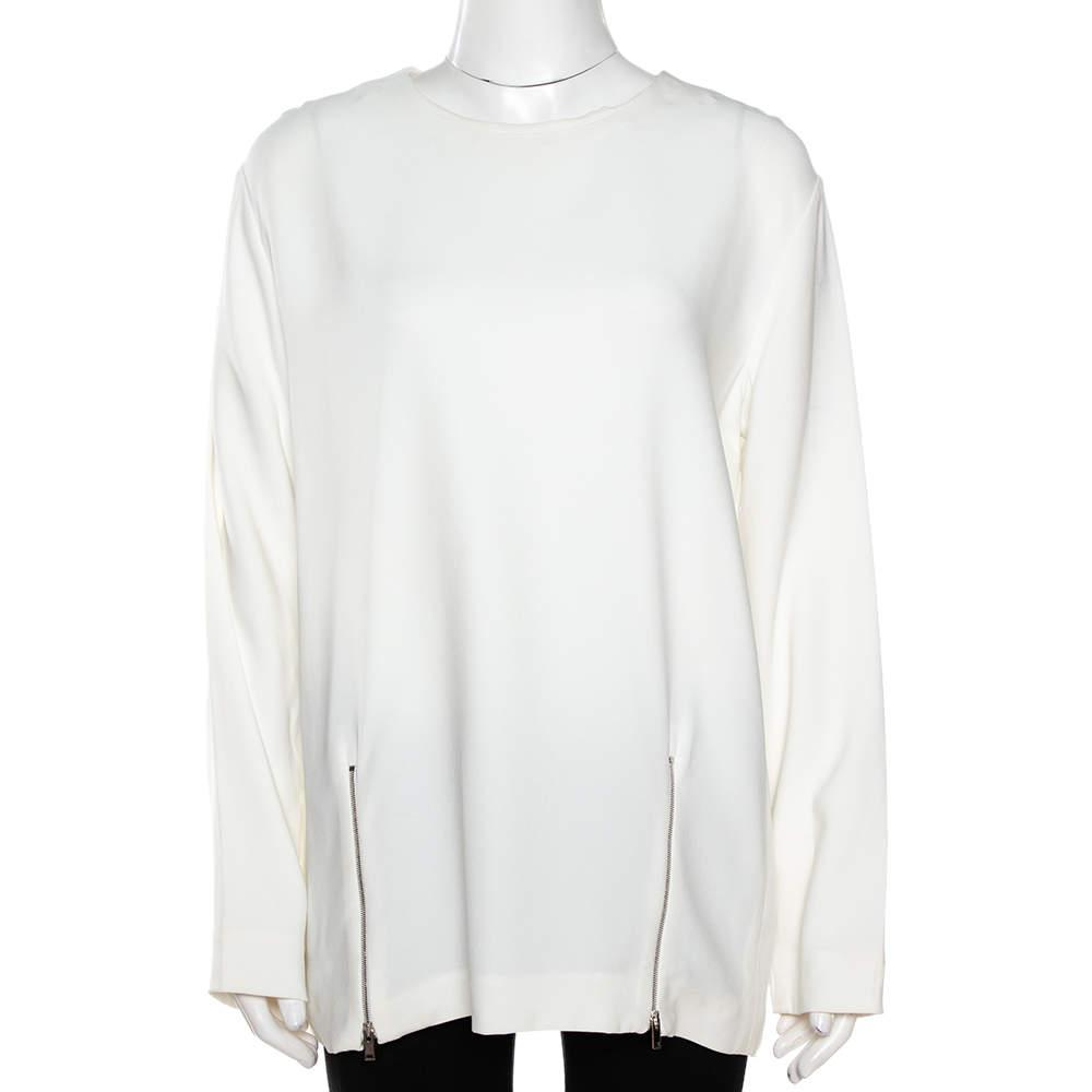 Stella McCartney White Crepe Zip Detail Long Sleeve Blouse L