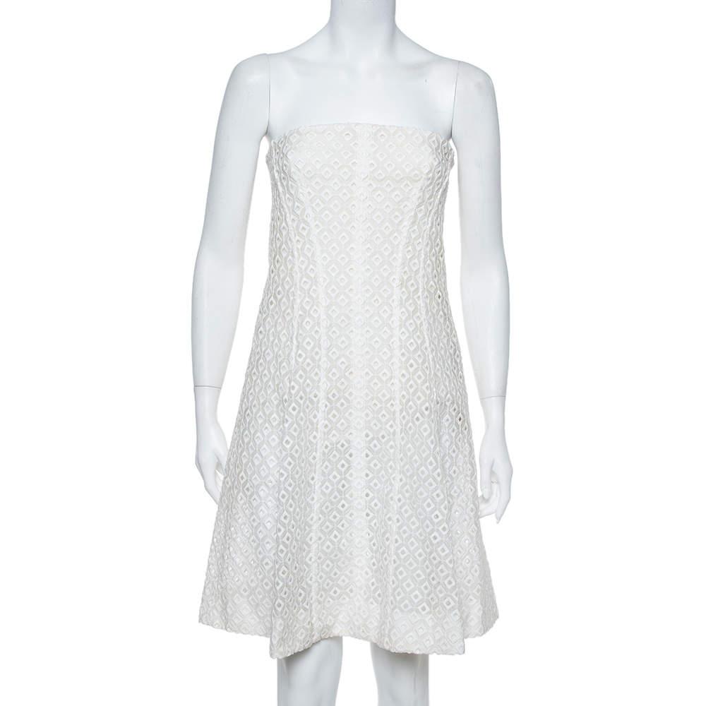 Stella McCartney White Embroidered Lace Strapless Mini Dress M