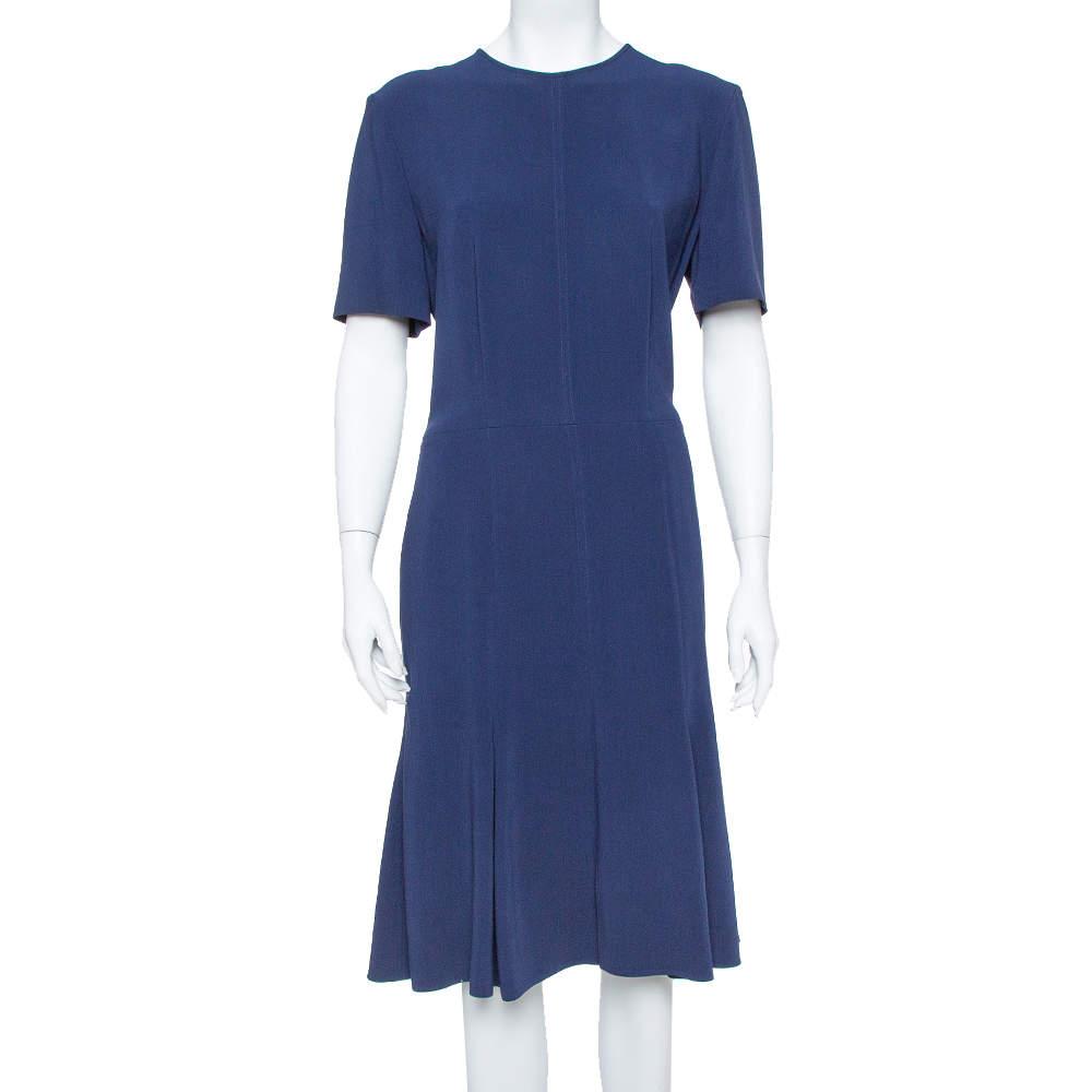 Stella McCartney Navy Blue Crepe Flared Midi Dress L