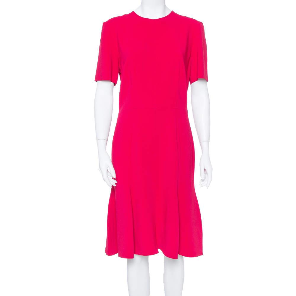Stella McCartney Crimson Red Crepe Flared Midi Dress L