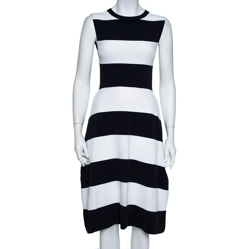 Stella McCartney Navy Blue & White Striped Knit Structured Midi Dress M