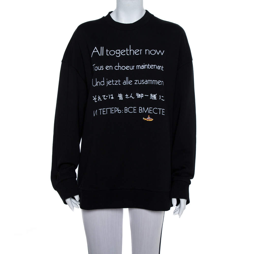 Stella McCartney The Beatles Black Cotton All Together Now Embroidered Sweatshirt M