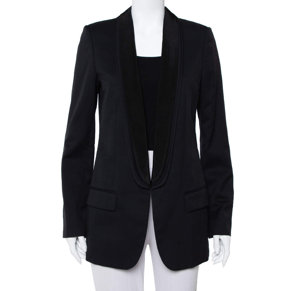 Stella McCartney Midnight Blue Wool Contrast Trim Detail Mathilda Blazer L
