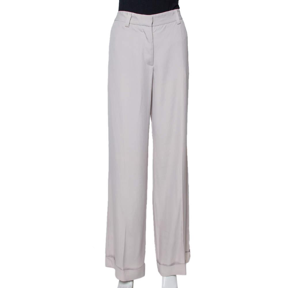 Stella McCartney Ecru Silk Blend Wide Leg Trousers M