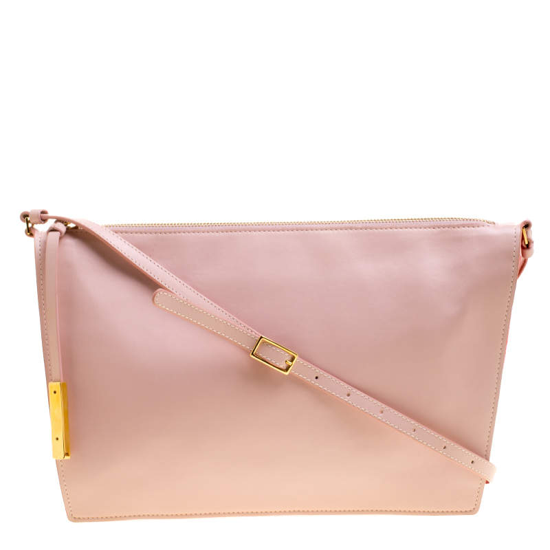 Stella McCartney Pink Faux Leather and Canvas Shoulder Bag