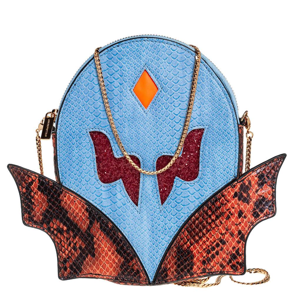 حقيبة كلتش ستيلا مكارتني سوبرهيرو سلسلة جلد صناعي نقشة الثعبان متعدد الألوان