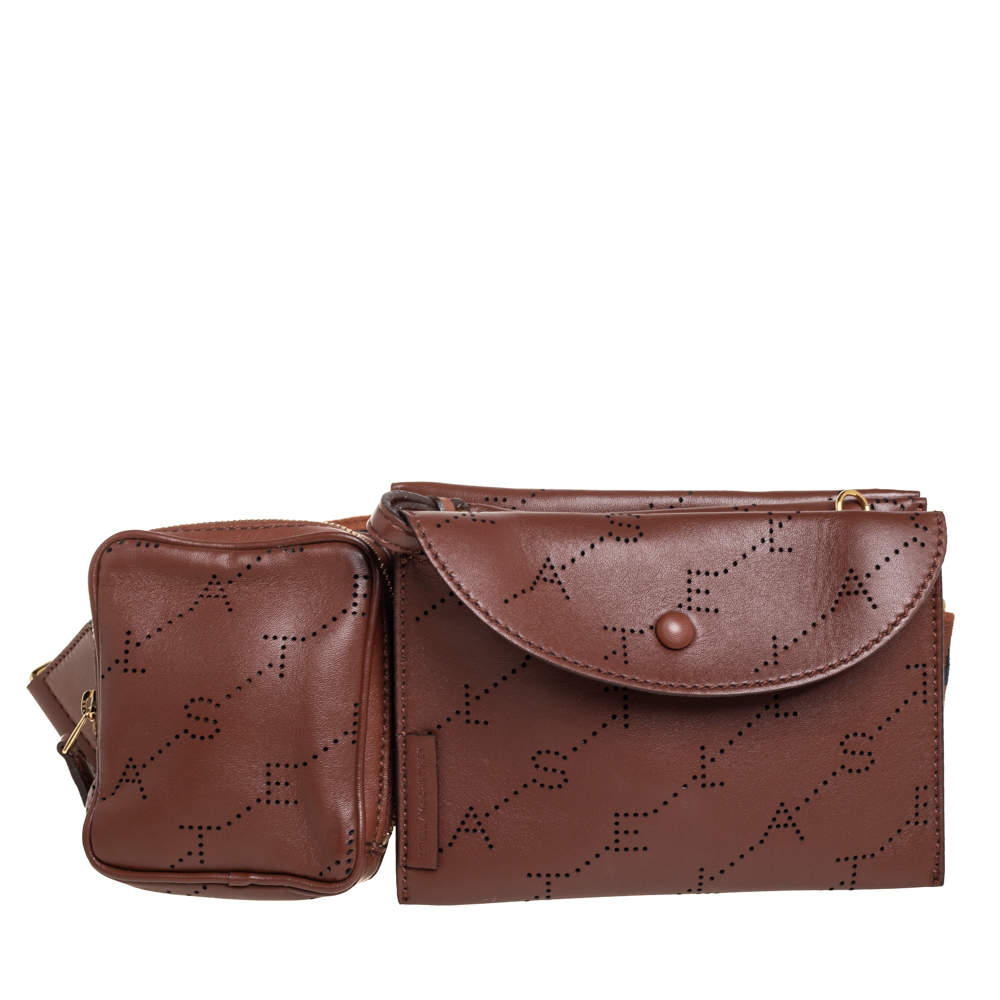 Stella McCartney Brown Monogram Faux Leather Utility Belt Bag